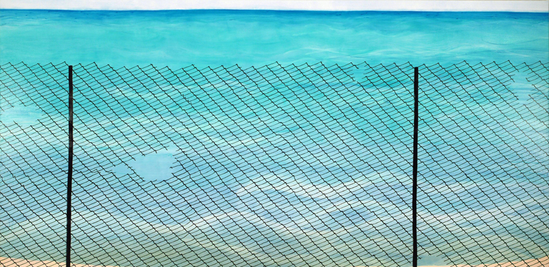 "Lake Fence, 2005, acrylic on canvas, 72"" x 144"""