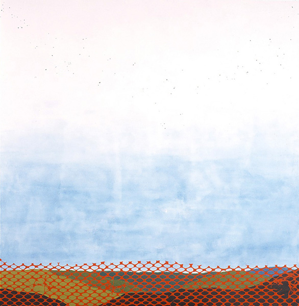 "Fence & Flock, 2004, oil & acrylic on canvas, 60"" x 68"""