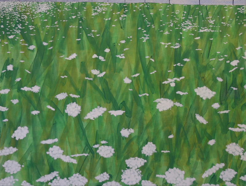 "Queen Anne's Lace, 2004, oil & acrylic on canvas, 33"" x 44"""
