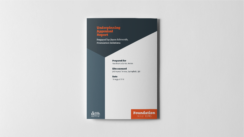 The Underpinning Appraisal Report, our free service, customised for our fellow Master Builders.