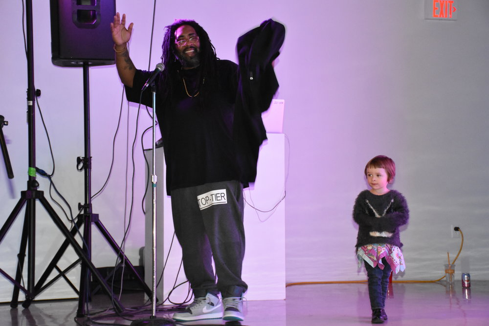 Blaq N' Nappy For The Kids , 2017, Hip Hop Performance. -Philadelphia Rapper, Marcus Pearson greeting the closing reception collaborators.