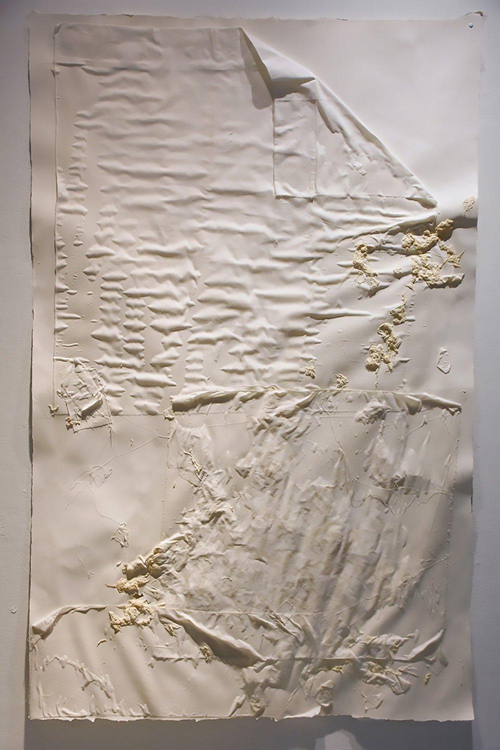 Generational Whiteness , 2017, Instillation of white linen and starch. -1 of 4 works grappling with representational images of whiteness by Philadelphia born artist, Kristina Davis.