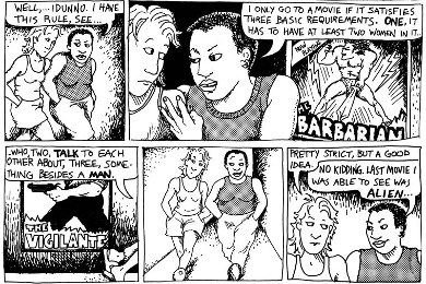 A character in  Dykes to Watch Out For  explains the rules that later came to be known as the Bechdel test (1985)