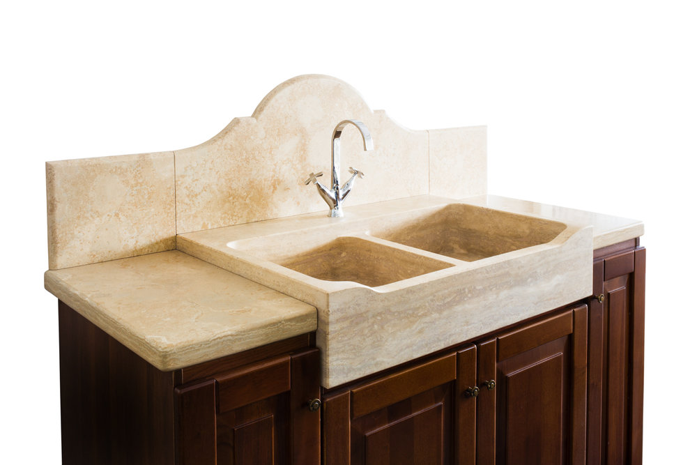- Top e lavello massello a due vasche in Travertino satinato