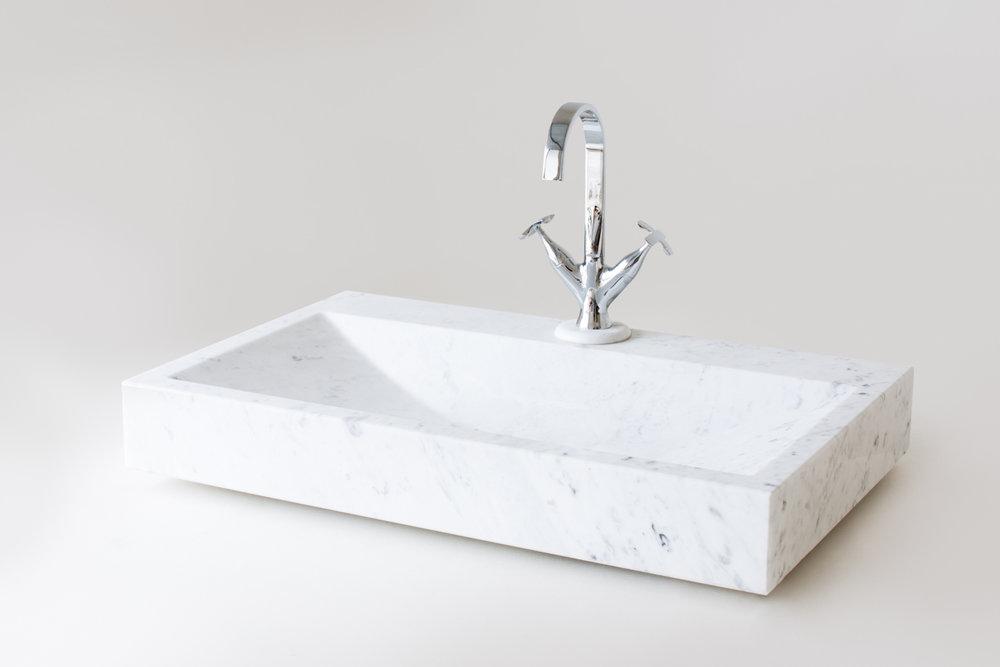 Lavello monovasca rettangolare in bianco di Carrara
