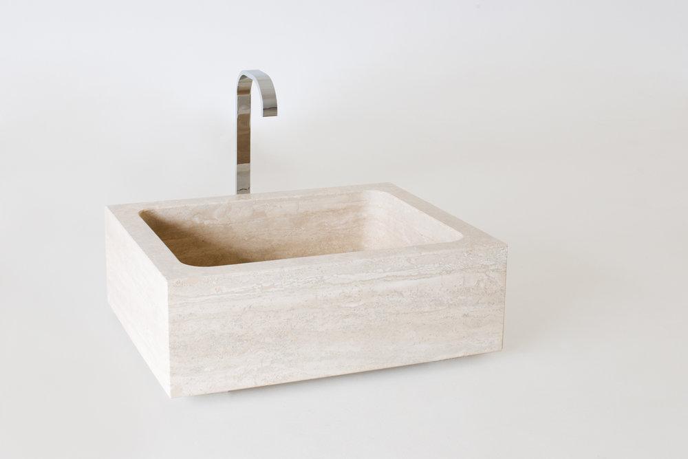 Lavello massello monovasca quadrato in pietra satinata