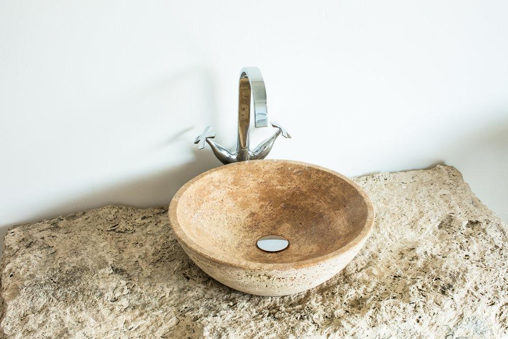 Lavabo ciotola in pietra Scorza di Travertino satinato