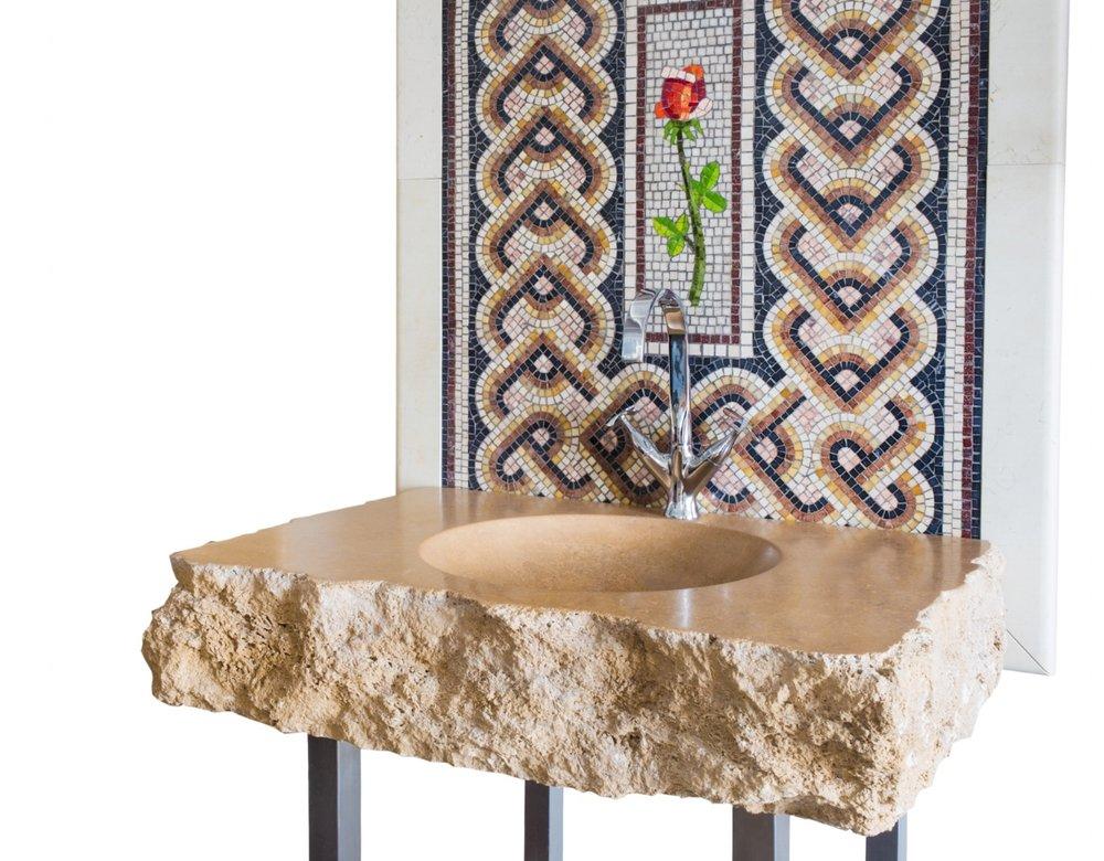Lavello di design Monolite in pietra Travertino Paestum