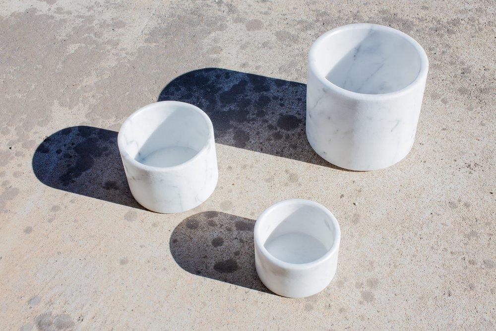 Ciotole o portaoggetti in marmo bianco di Carrara