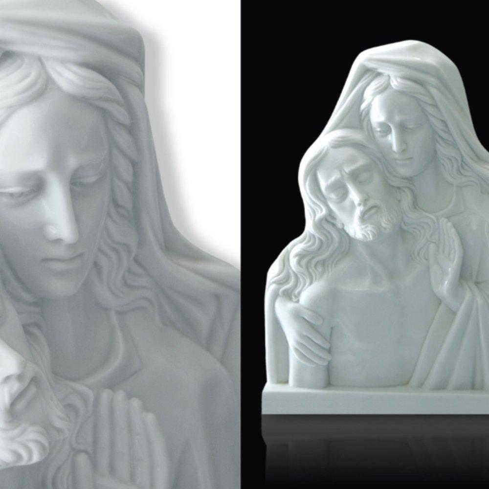 Sculture arte sacra e funeraria in marmo bianco