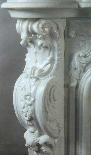 """Colonna di camino in marmo Bianco Statuario """"stile Luigi XV"""""""