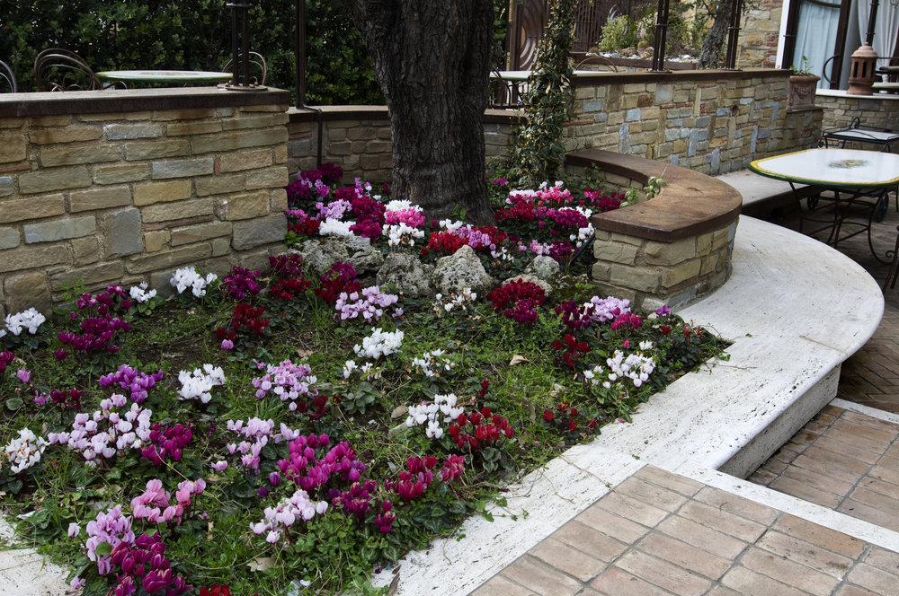 Seduta giardino in pietra anticata