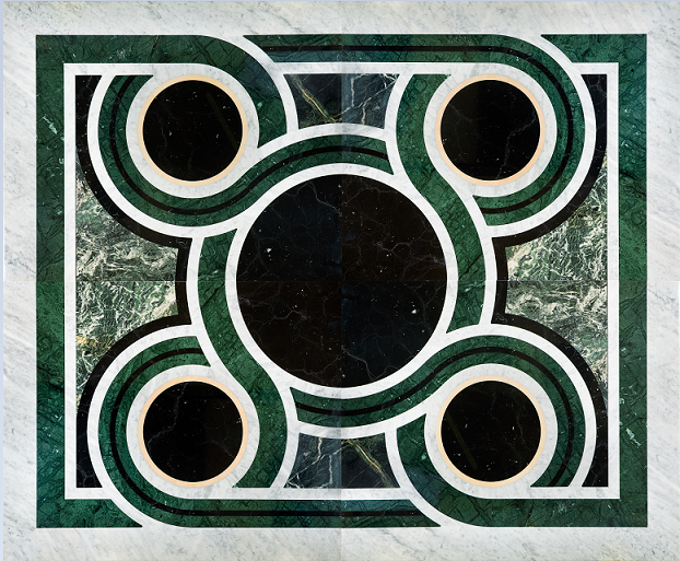Composizione pavimento in Bianco di Carrara Verde Alpi e Guatemala e Rosa Portogallo