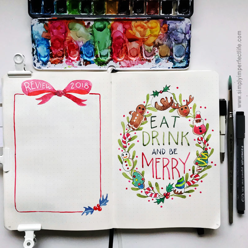 Bullet Journal: December 2018 review Christmas cookies wreath spread by Mariana : www.simplyimperfectlife.com