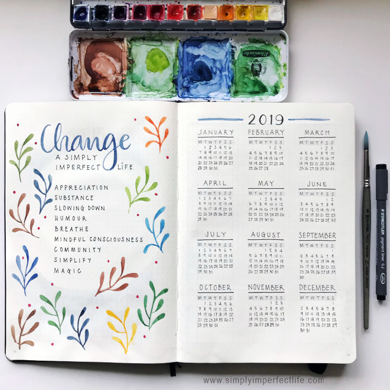 Bullet Journal: 2019 calendar by Mariana :  www.simplyimperfectlife.com