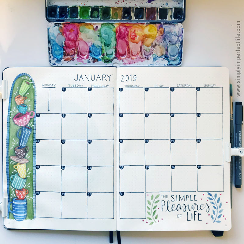 Bullet Journal: January 2019 monthly spread by Mariana :  www.simplyimperfectlife.com