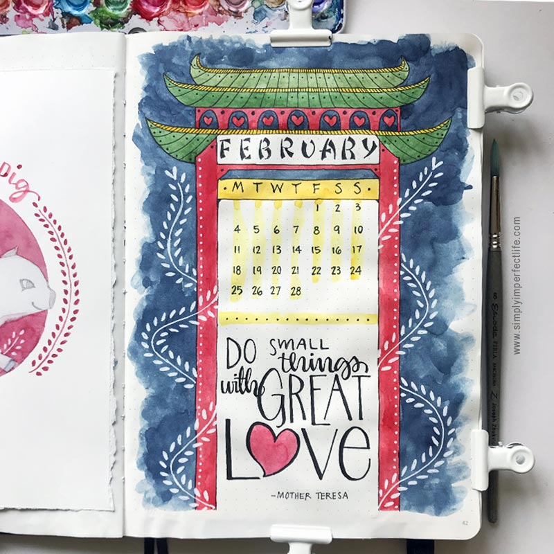Bullet Journal: February 2019 cover by Mariana :  www.simplyimperfectlife.com