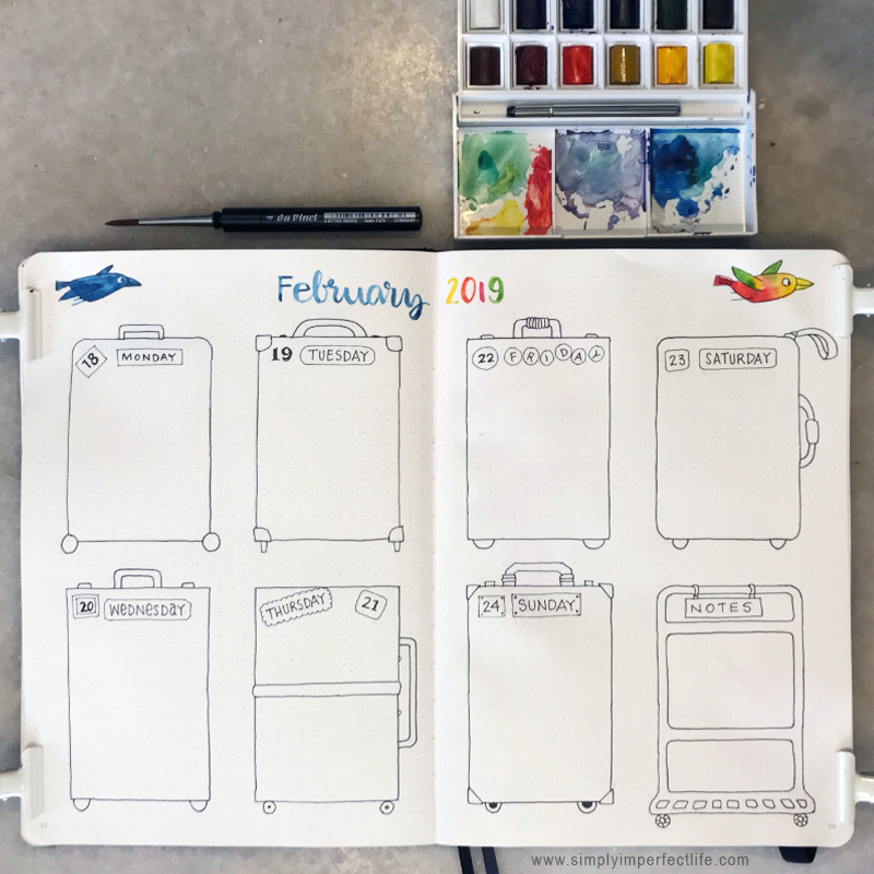 Bullet Journal: February 2019 week 3 by Mariana :  www.simplyimperfectlife.com