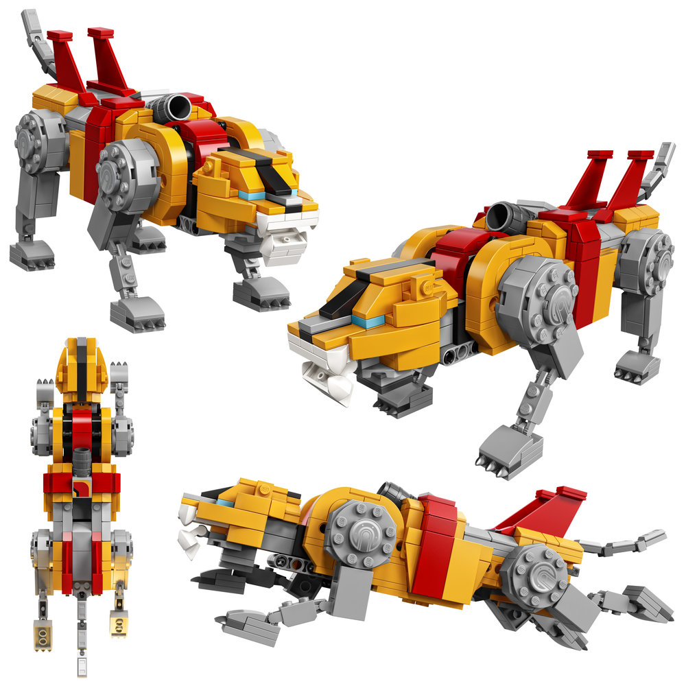 The Yellow Lion serves as the left leg of the giant robot.
