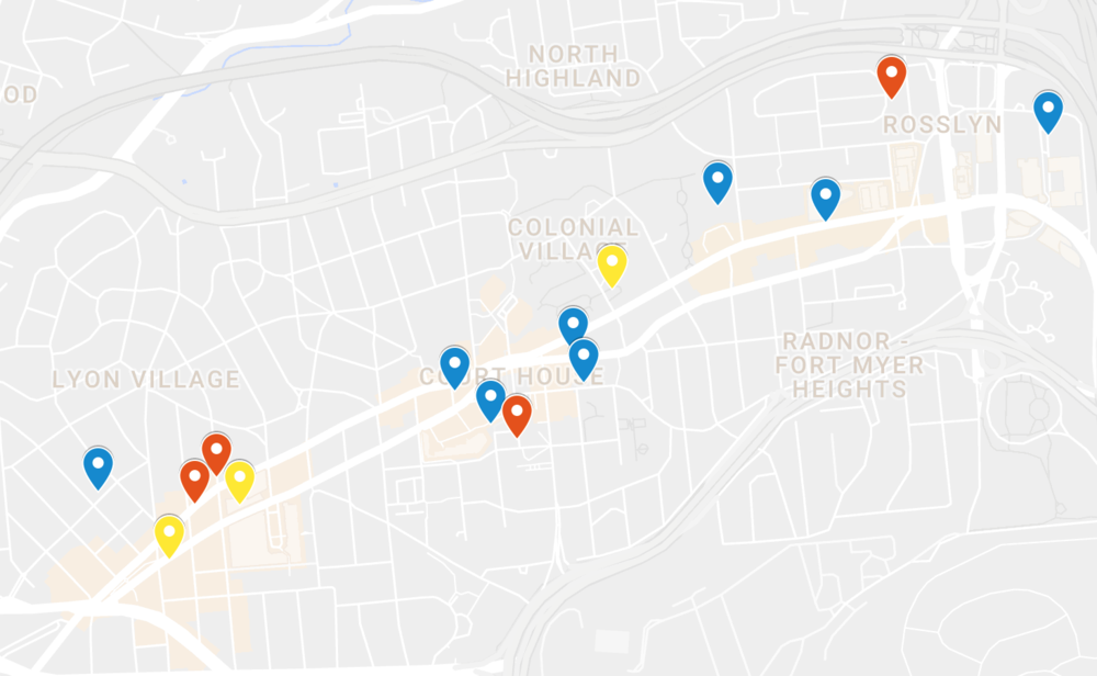 Click photo to access the map. HIIT studios in Blue, Yoga/Pilates/Barre in Yellow, and Gyms in Red.
