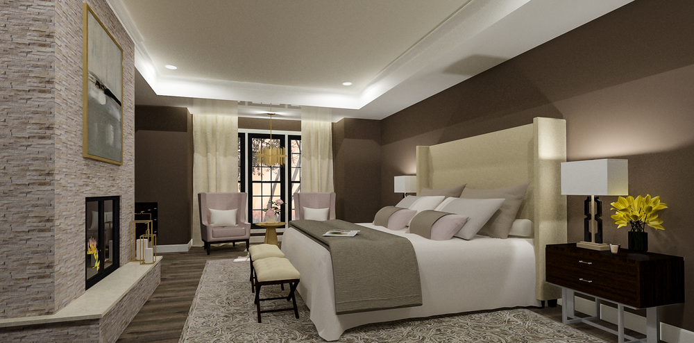 Contemporary Master Bedroom Rendering