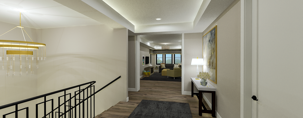 Contemporary Upstairs Hallway to Lounge