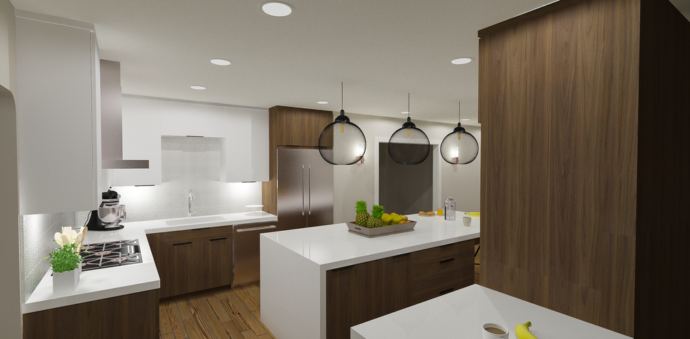 Contemporary Dual-Toned Kitchen Option Rendering | Designed by  Stalburg Design  | Rendered by Kelly Fridline Design using Chief Architect X9