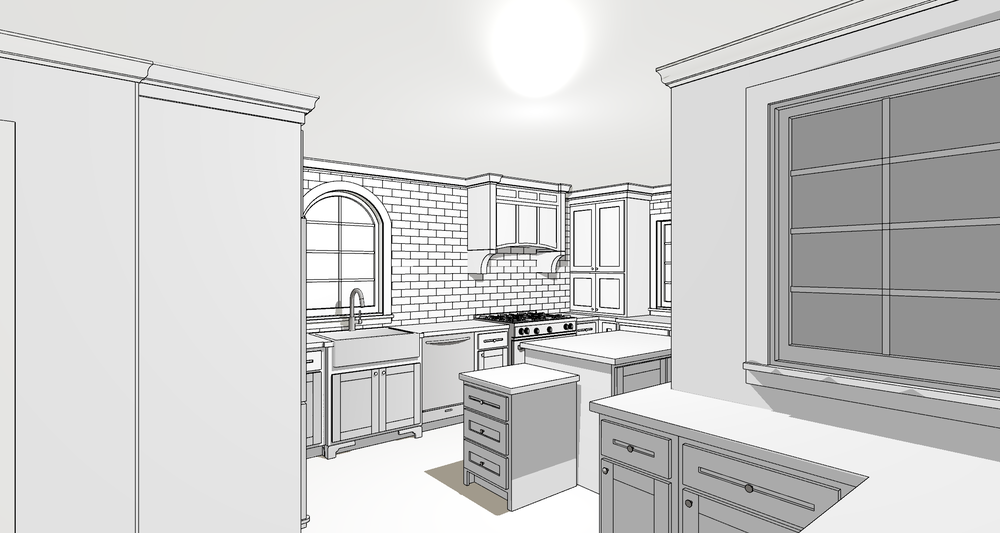Space Planning Study in Vector Mode Kitchen Rendering | Designed by  &Design | Rendered by Kelly Fridline Design using Chief Architect X9