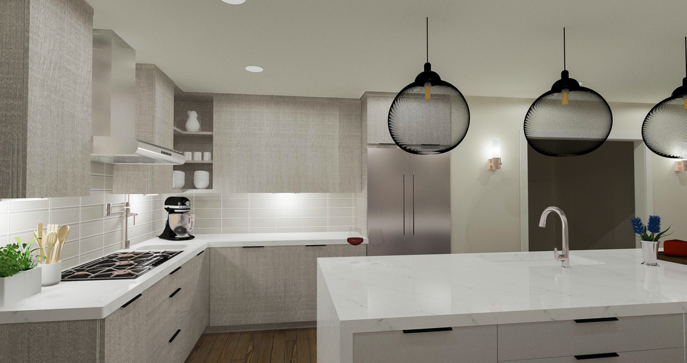 Contemporary Grey Kitchen Option Rendering | Designed by  Stalburg Design  | Rendered by Kelly Fridline Design using Chief Architect X9