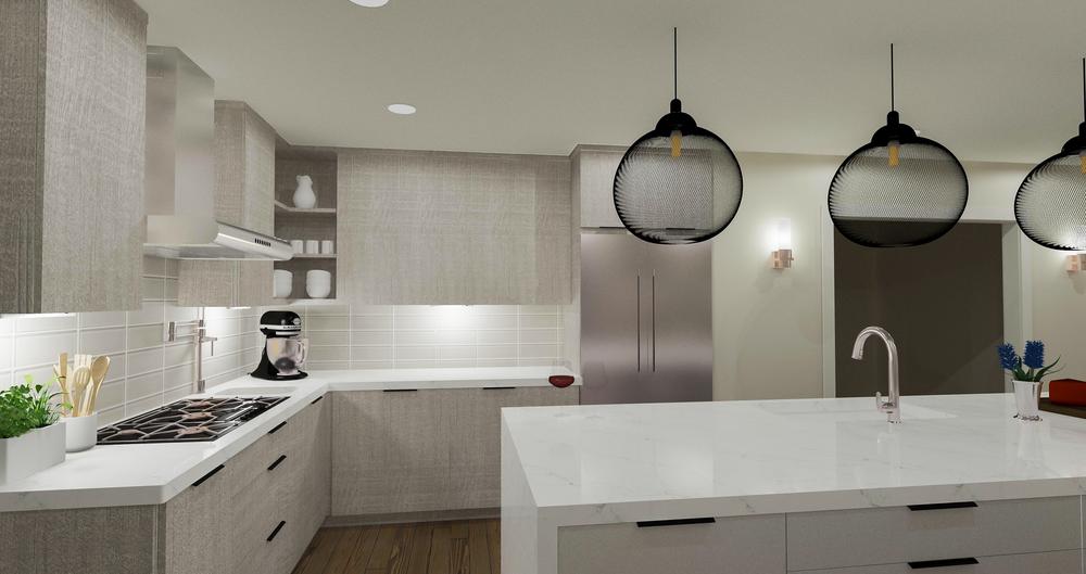 Contemporary Grey Kitchen Option Rendering | Designed by  Stalburg Design  | Rendered by Kelly Fridline Design using Chief Architect X9