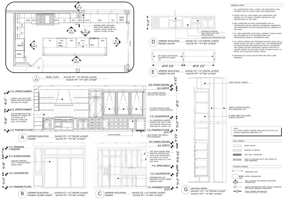 Kitchen Permit Drawings | Designed by Kelly Fridline Design| Rendered & Drafted by Kelly Fridline Design using Chief Architect X10