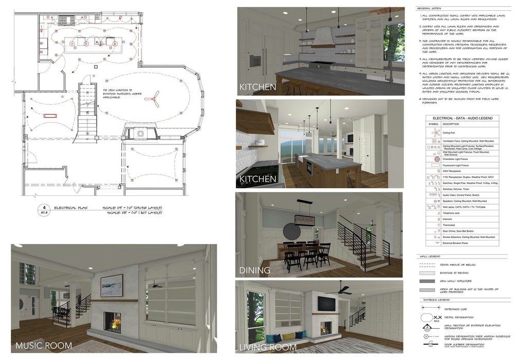 Kitchen Permit Drawings & Perspectives using 'PBR' Rendering Option | Designed by Kelly Fridline Design| Rendered & Drafted by Kelly Fridline Design using Chief Architect X10