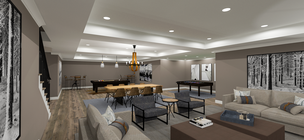 Basement Rendering | Designed by Stalburg Design| Rendered by Kelly Fridline Design using Chief Architect X10