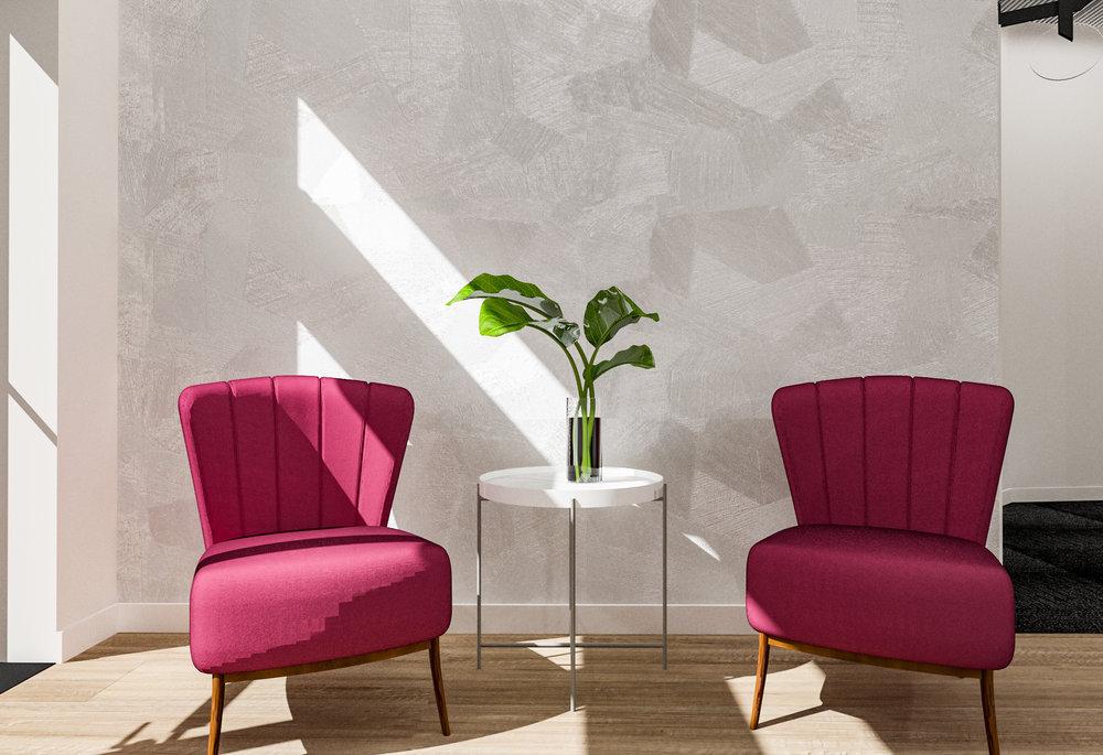Modern Foyer Design Scheme for  Sola Salon Studios    Designed by:  Bell + Voy Design Co.