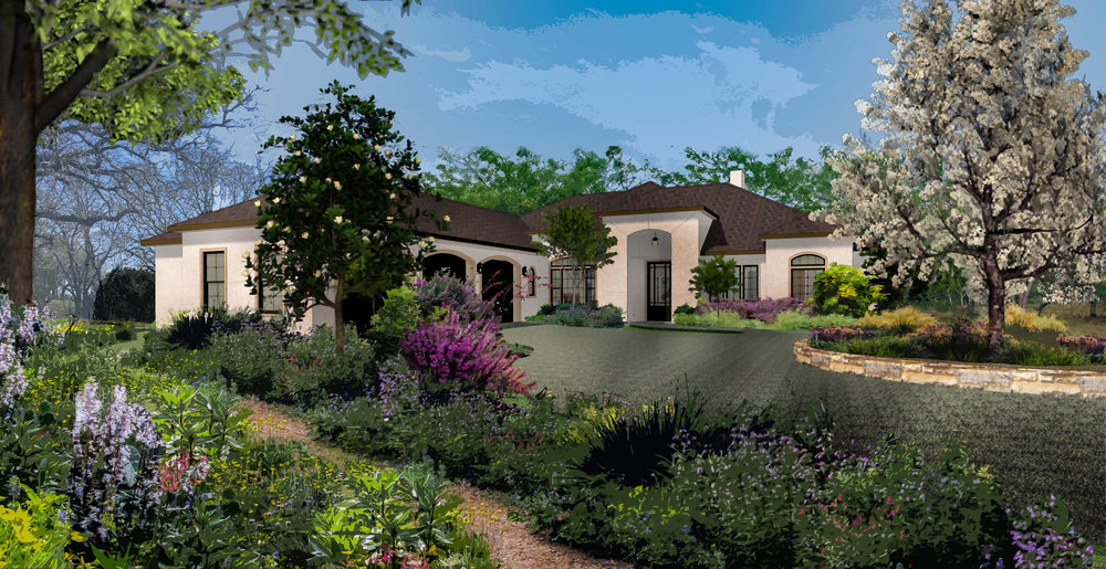 Rendering I did, for a house I designed in Texas. Design-Build/employer: Orlowski & Hansen, LLC  This was achieved using Chief Architect x8 and the watercolor rendering option, vegetation was added and edited via Photoshop.