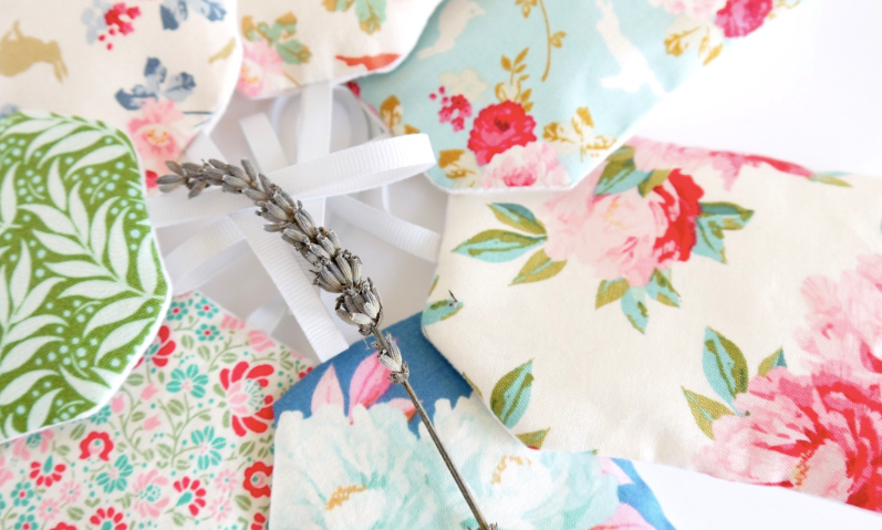 Colourful floral lavender sachets in luggage tag shapes