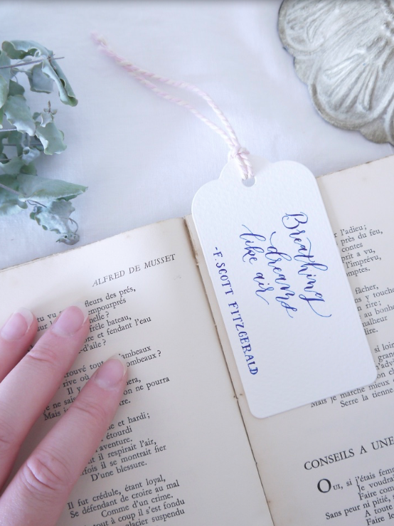 Beautiful bookmarks - Sometimes a line of poetry or evocative words from your favourite book are worth seeing everyday as well as making a thoughtful gift for a bookworm. Practical AND pretty, two of my favourite things and one wonderful combination.
