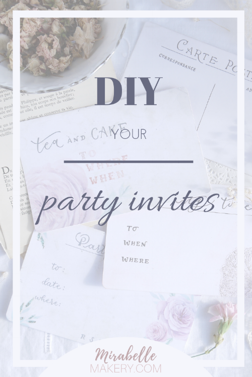 Handmade tea party invitations with a vintage look