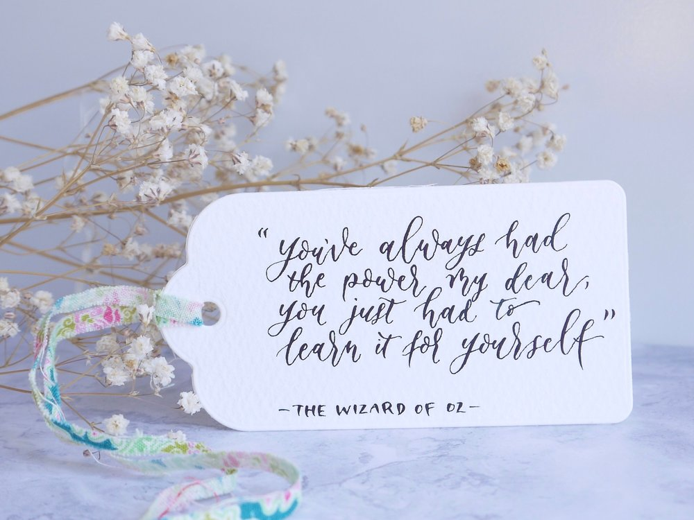 modern calligraphy wizard of oz quote