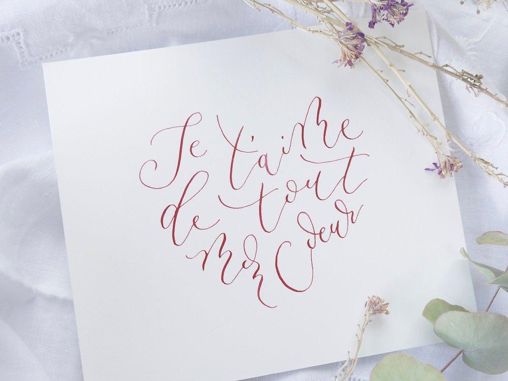 Je t'aime de tout mon coeur, calligraphy heart