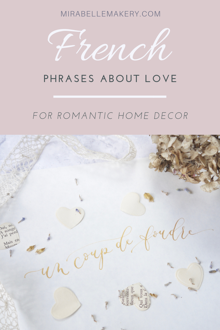 Calligraphy decor with French phrases about love