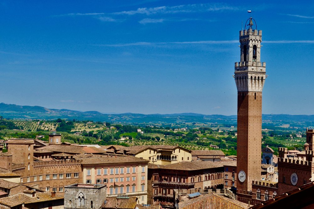 View of Tuscany from the roof of Siena Cathedral.