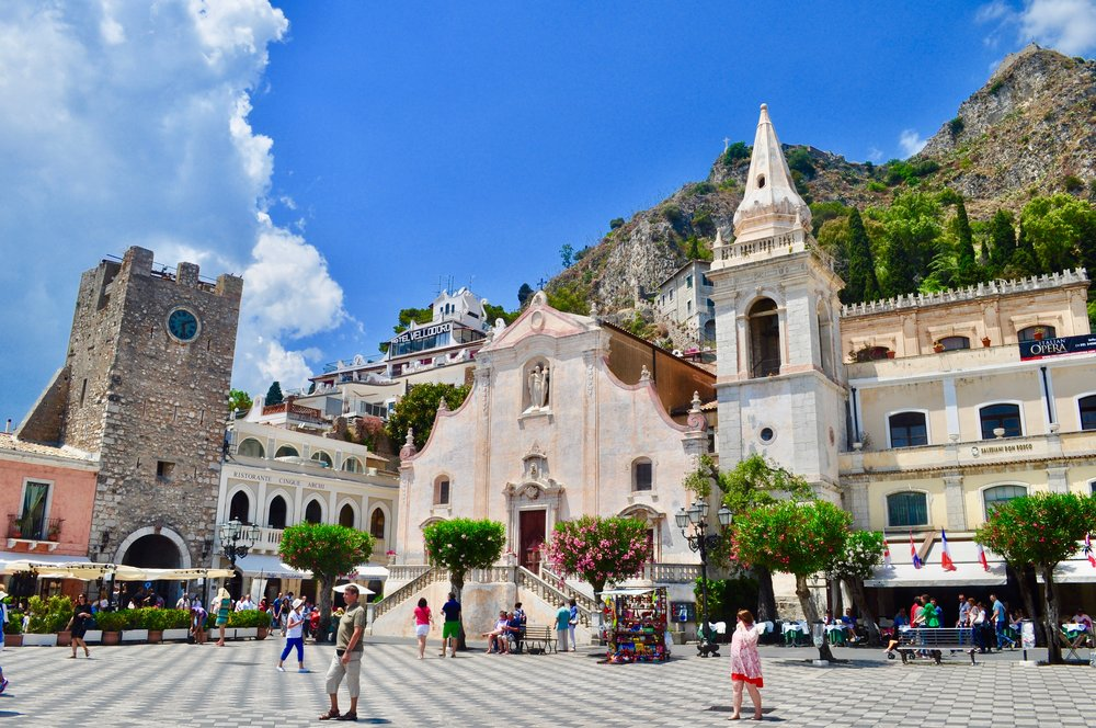 Piazza IX Aprile is a busy square offering one of the best viewpoints of Taormina.