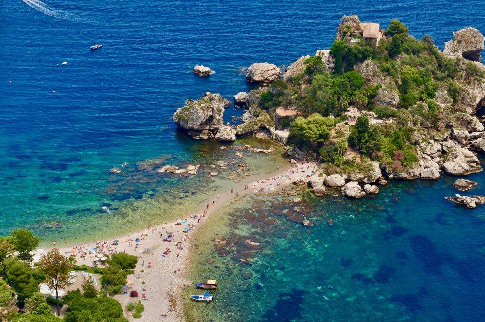 Isola Bella beach sits just below Taormina