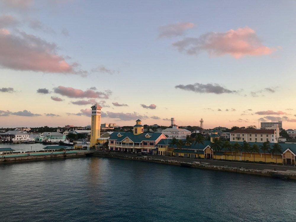 4-Night Bahamas Cruise.  Nassau Bahamas at sunset.  A Happy Passport #nassau #bahamas #cruise