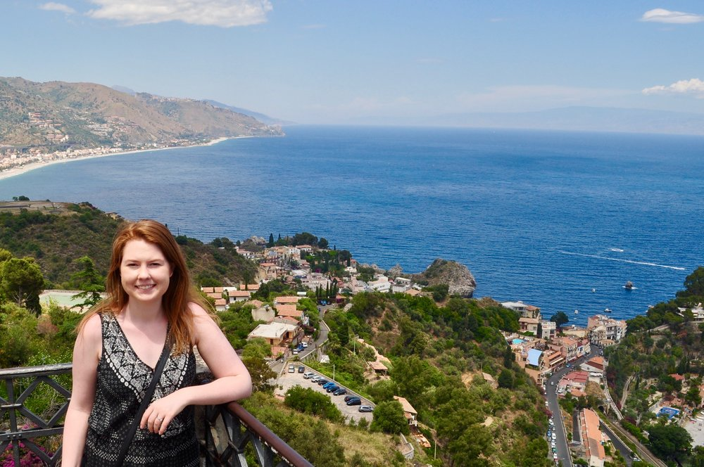 Beautiful scenic lookout over Isola Bella and the Sicilian coastline