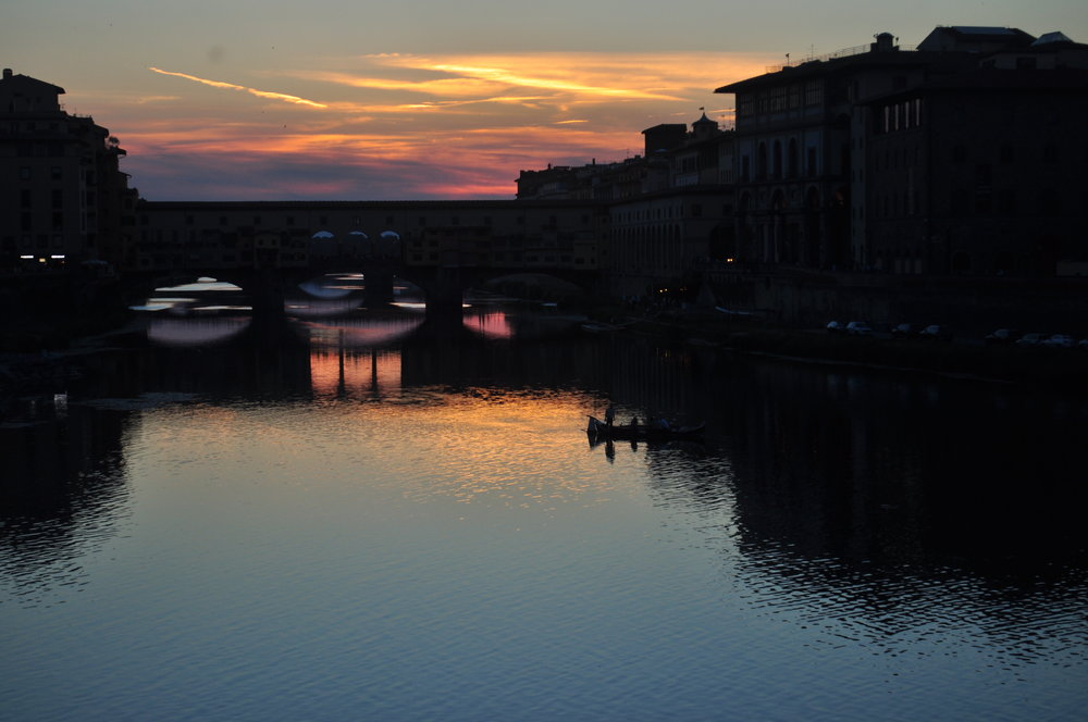 Sunset at Ponte Vecchio, Arno River, Florence, Italy
