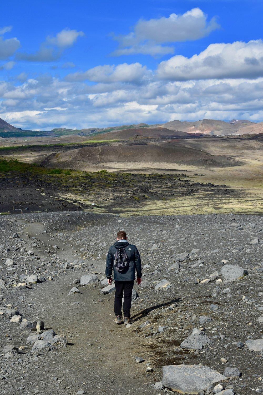 Walking down Hverfjall Volcano