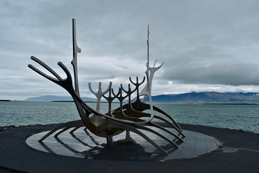 Sculpture and Shore Walk in Reykjavik, Iceland