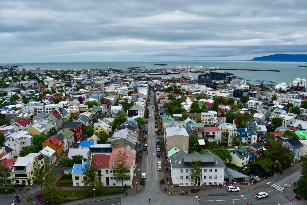 View from Hallgrimskirkja in Reykjavik, Iceland
